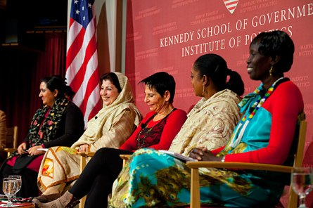 """""""Why Women Won the Nobel Prize,"""" was an Institute of Politics panel discussion featuring, (from left) Samira Hamidi Director, Afghan Womenís Network, Afghanistan; Mossarat Qadeem, Founder and Exec. Director, PAIMAN Alumni Trust, Pakistan; Lt. Gen. (Ret.) Orit Adato Founder & Managing Director, Adato Consulting Ltd, Israel; Zaynab El Sawi, Coordinator, Sudanese Women Empowerment for Peace; and Rebecca Joshua Okwaci, Dep. Minister for General Education & Instruction, South Sudan. Rose Lincoln/ Harvard Staff Photographer"""