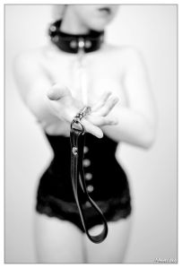 domme with a leash & collar